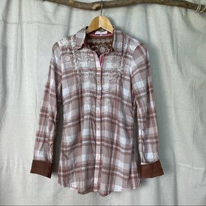 Johnny Was 3J Workshop Embroidered Plaid Top